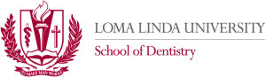 Loma Linda University logo in red and grey on checkered grey and white background, includes cross, laurel, torch, and motto.